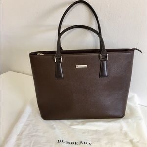 Authentic BURBERRY large brown leather tote